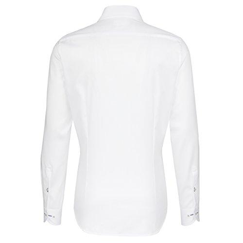 SEIDENSTICKER Herren Hemd Slim 1/1-Arm Bügelfrei Uni / Uniähnlich City-Hemd Kent-Kragen Kombimanschette weitenverstellbar weiß (0001)