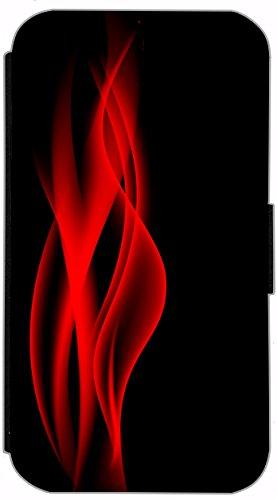 FioMi Flip Cover Schutz Hülle Handy Tasche Etui Case für (Apple iPhone 5 / 5s, 749 Fußball in Flammen Feuer Rot Schwarz) 755 Abstract Schwarz Rot