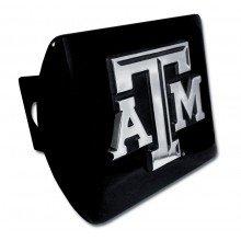 Elektroplate Texas A & M University Aggies Schwarz mit Chrom ATM Emblem NCAA College Sports Metall Anhängevorrichtung Abdeckung passt 5,1cm Auto Auto Truck Empfänger Texas A&m University Atm
