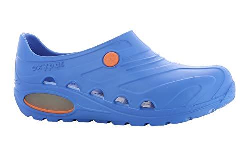 Oxypas oxyva lightweight, scarpe per personale sanitario, leggere, antiscivolo, in etilene vinil acetato (eva); assorbono gli urti e supportano la postura, blu (electric blue), 43-44 eu