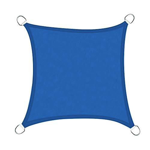 Greenbay Voile d'ombrage Carré | 4x4m Bleu | Une Protection des Rayons UV | Toile d'ombrage Auvent Pare-Soleil de Jardin