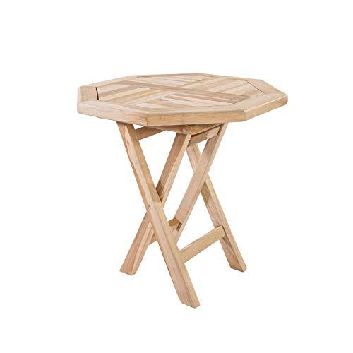 MACOShopde by MACO Möbel Klappbarer Beistelltisch aus massivem Teak Holz wetterfest für Garten Balkon und Terrasse - 8-eckiger Holztisch 50x50 cm -
