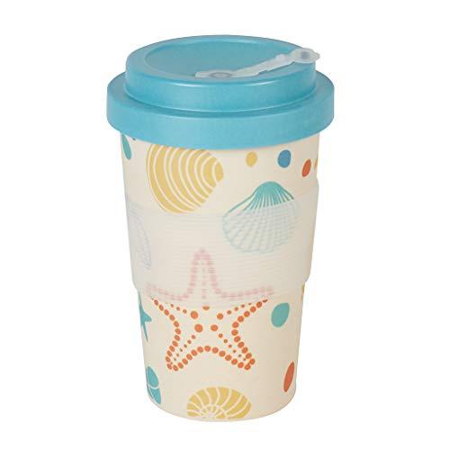 Bamboo Cup to Go Becher   Bambus Becher Meer Design   Becher mit Deckel   Idealer Teebecher & Coffee to go Becher   Einwegbecher Alternative