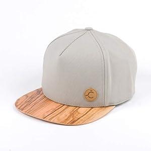 Kappe, 5 Panel, Snapback, Cap, Hat, Snapback, Kappe, Olive Holz/Wood Brim M/L