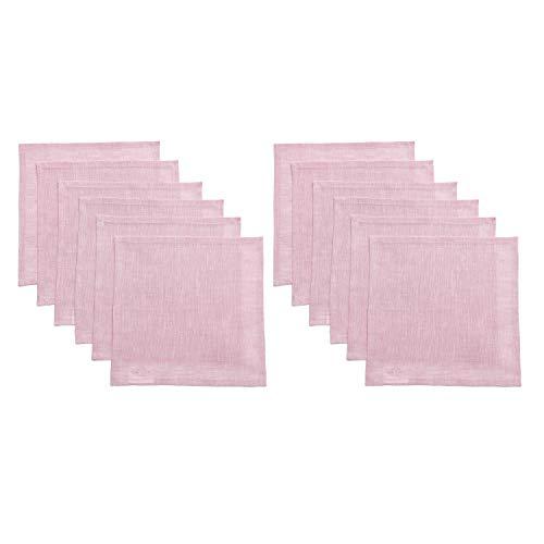 Solino Home Servietten, 100% reines Leinen, 4 Stück, 50,8 x 50,8 cm, weich und mit Gehrungsecken gefertigt, Natura Collection, Chambray Pink, Cocktail Napkins (Set of 12) -