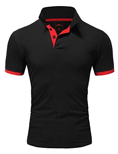 Amaci&Sons Herren Poloshirt Basic Kontrast Kragen Kurzarm Polohemd T-Shirt 5104 Schwarz/Rot XL