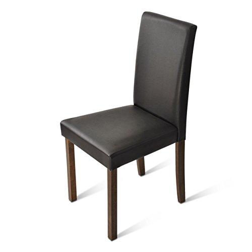 SAM® Polster-Stuhl Billi, Esszimmer-Stuhl, Lederimitat, braun, massive Holzbeine in Kolonial, Design-Stuhl, Küche und Esszimmer
