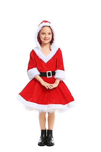 Erwachsene Kostüm Santa Für - YuStar Weihnachten Halloween Kostüm Erwachsene Kinder Familie Pack Weihnachten Mädchen Cosplay Rot Santa Claus Fluff Kleid Gr. S, Silber