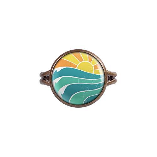 Mylery Ring mit Motiv Sonnen-Untergang Strand Wellen Retro Bronze 14mm
