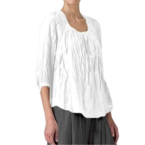 Oksea Tops Damen Sommer Kurzarm Tunika O Neck Oberteile Elegant Blusen Hemden Plissee Einfarbig T Shirt Casual Loose Plus Size Frauen Solide Casual Saum Bluse Kurzes T Shirt Tops