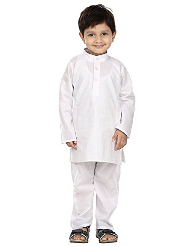 FOCIL White Solid Kurta Pyjama Set For Kids Available In All Sizes From 1-9 Years of Age  available at amazon for Rs.249