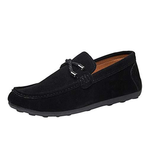 Cloom scarpe uomo, scarpe uomo men casual punta stile britannico nubuck singole scarpe da uomo scarpe sportive moda lounger studente maschio gioventù tela primavera/autunno(nero,43)