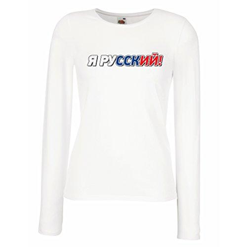 Weibliche Langen Ärmeln T-Shirt ЯРусский, Ich Bin Russisch, Russische Kleidung (XX-Large Weiß Mehrfarben)