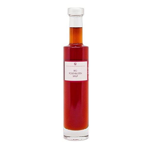 Bio Sirup Rose 200 ml - Rosensirup aus echten Rosenblüten für Cocktail, Dessert oder als Geschenk - Manufaktur von Blythen