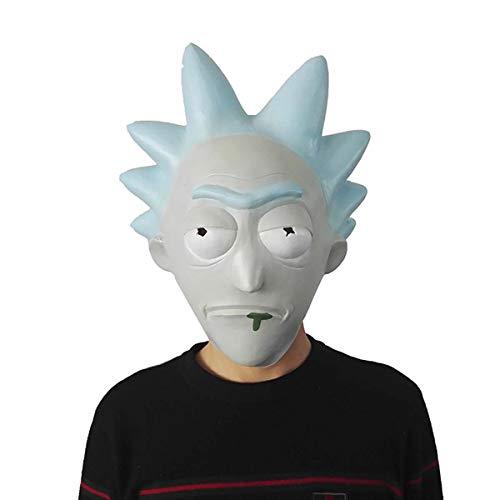 hcoser Rick y Morty Anime Máscara de Rick Casco Cosplay para Fiestas de Disfraces Carnaval Halloween látex para niños o Adultos