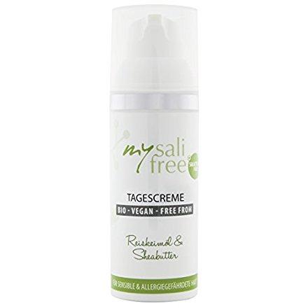 mysalifree BIO TAGESCREME, natürliche Gesichtspflege für sensible Haut mit Reiskeimöl und Sheabutter, 50ml, 100% zertifizierte Biokosmetik, weltweit einzigartig, BIO + VEGAN + FREE FROM