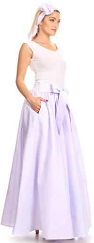 Sakkas Sauda Maxi Long Vollkreis Wachs Baumwolle Rock Casual Gorgeous Basic Boho Lavendel
