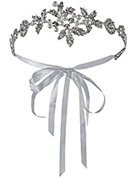 amazon co uk silver headbands accessories clothing Roaring Twenties Party metme stunning women s rhinestone wedding flapper headband ribbons for 1920s party