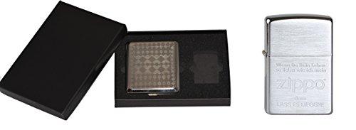 Zippo Feuerzeug Lass es Liegen 1100019 + MM Geschenkset mit Zigarettenetui