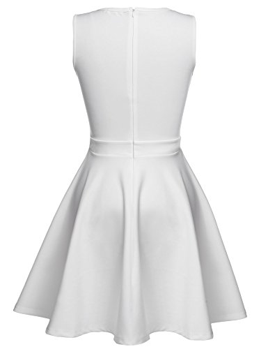 Meaneor Damen Retro Vintage kleid Rockabilly Party Cocktail Kleid A-Linie Paillettenkleid Falten Weiß