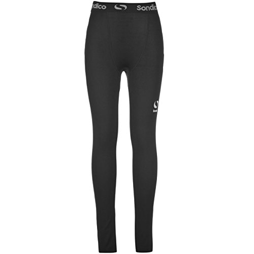 Sondico Kids Core Tights Junior Compression Fit Exercise Sport Baselayer Bottoms Black 7-8 Yrs
