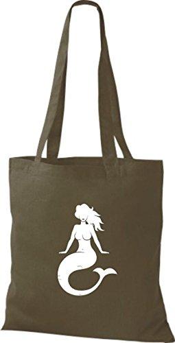 ShirtInStyle Stoffbeutel Baumwolltasche Sailing Motive Meerjungfrau olive