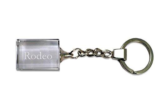 SHOPZEUS Eingravierter Glas-Schlüsselanhänger mit Aufschrift Rodeo (Vorname/Zuname/Spitzname)