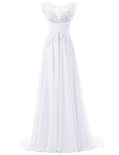 Dresstells, Robe de cérémonie Robe de soirée Robe de gala mousseline appliques en dentelle traîne moyenne Blanc