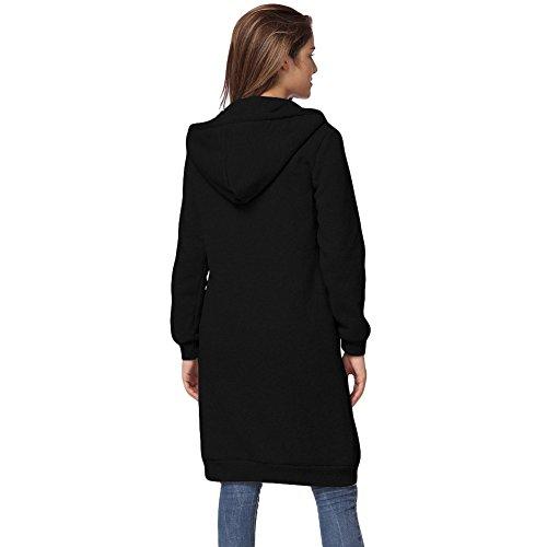 Romacci Damen Kapuzenpullover Lange Kapuzenpullis Beiläufiger Taschen Hoodie Pullover Schwarz