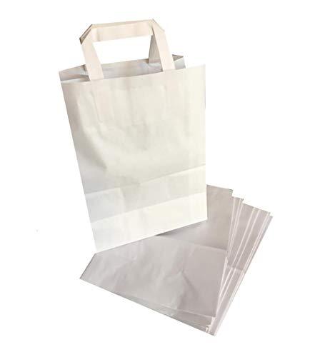 C.n. sacchetti di carta con manici bianchi 22+12x29 cm 100 pz shopper busta in carta kraft bianca borsa ecologica per negozi,boutique,profumerie,porta bomboniere, regali ecc.