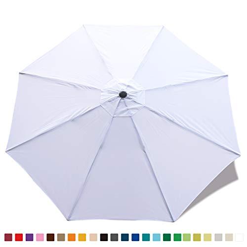 ABCCANOPY Parasol de Jardin de terrasse de Rechange pour Parasol de marché 2,7 m 8 Baleines (Housse Uniquement) Blanc