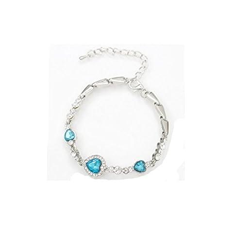 ZI LING SHOP- Bracelet argenté Mode Ocean Heart Bracelet en