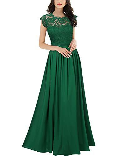 Miusol Elegante Encaje Gasa Fiesta Vestido Largo para Mujer Verde Small
