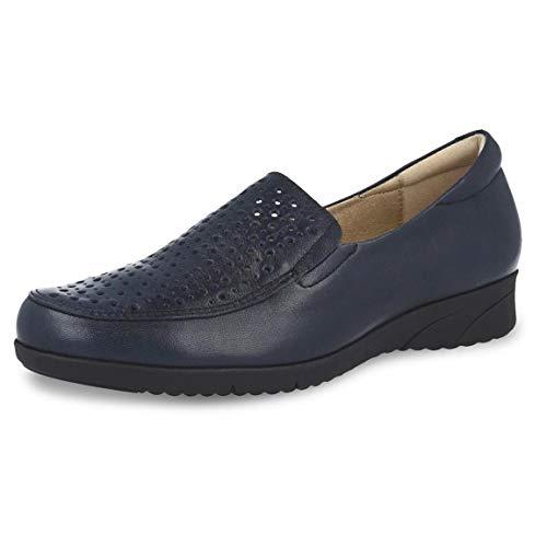 Zapato Mujer Tipo mocasín Marca PITILLOS, en Piel picada napa Color Azul Marino, Plantilla Extraible...