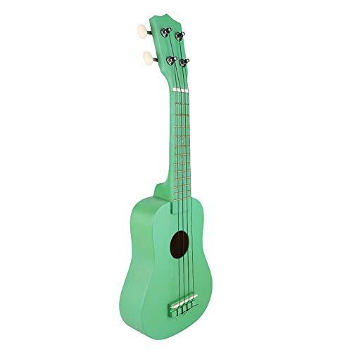 Dilwe 21-Zoll-Ukulele, Robuste Tragbare Ukulele-4-Saiter-Hawaiianische Gitarre für Anfänger(Grün)