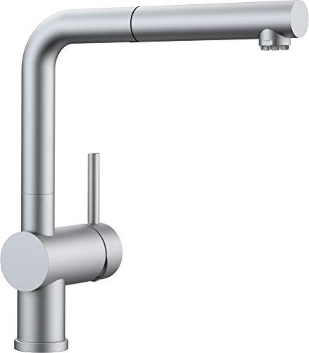 Blanco Linus-S Küchenarmatur - Einhebelmischer mit ausziehbarer Schlauchbrause, metallische Oberfläche, chrom matt, Niederdruck, 1 Stück, 512201