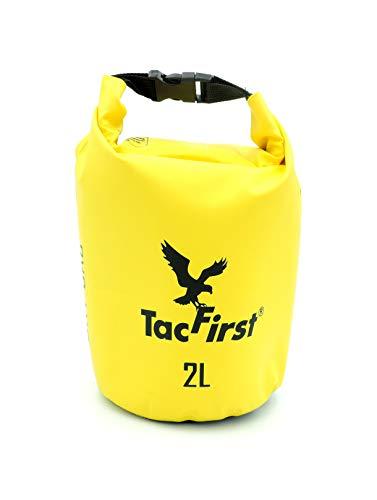 TacFirst Dry Bag Seesack, wasserdichter Packsack mit Fast-Fold Verschluss, Gelb, 2 Liter, 2L