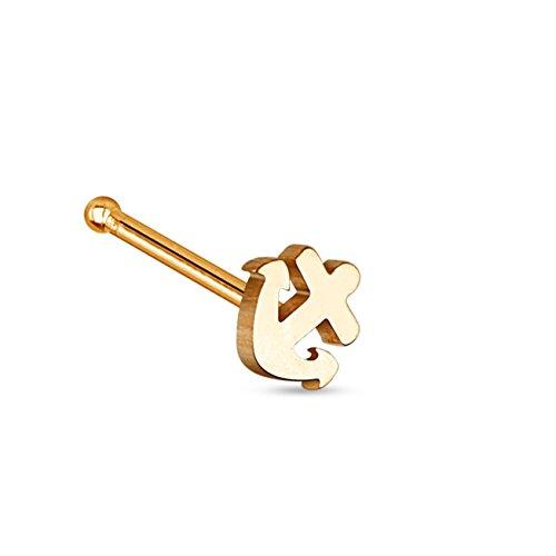 beyoutifulthings Nasen-Piercing Anker Nasen-Ring Nasen-Stecker Chirurgenstahl Roségold Stab 0,8/6mm (Star Nose Gold Stud)