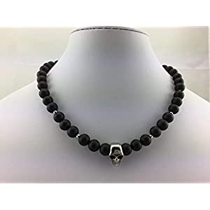 coole Halskette Kette Rundkette aus Onyx Perlen schwarz matt für Herren Männer mit Skull Totenkopf Schädel Anhänger Schmuck Biker Surfer Rocker NEU K_63