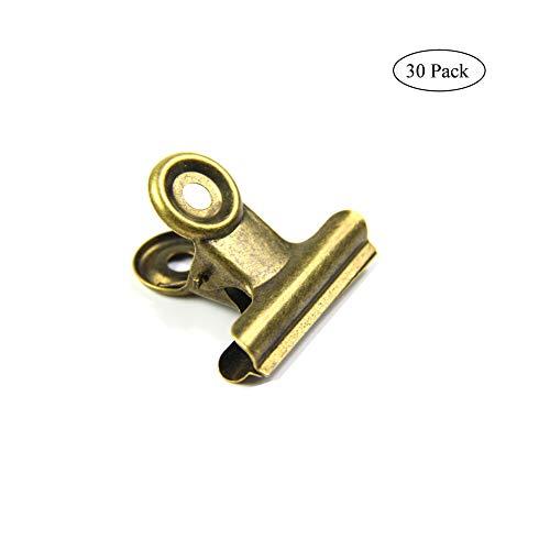 Antike Messing-kleine Bulldog-Clips, Coideal 30 Pack Scharnier Clip 1 Zoll Metall Binder Clips Datei Papiergeld Klemmen für Tags Taschen, Geschäfte, Büro-und Hausküche (Bronze, 22mm)