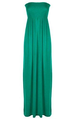 Janisramone femmes plus size Sheering télé longue bustier en jersey maxi robe de taille 8-26 JADE VERT