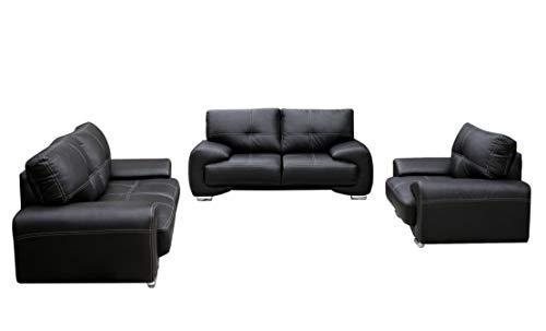Set 3er & 2er & Sessel 3-2-1 Wohnlandschaft 3-Sitzer und 2-Sitzer mit Sessel Möbel Set - Florida (Schwarz) ()