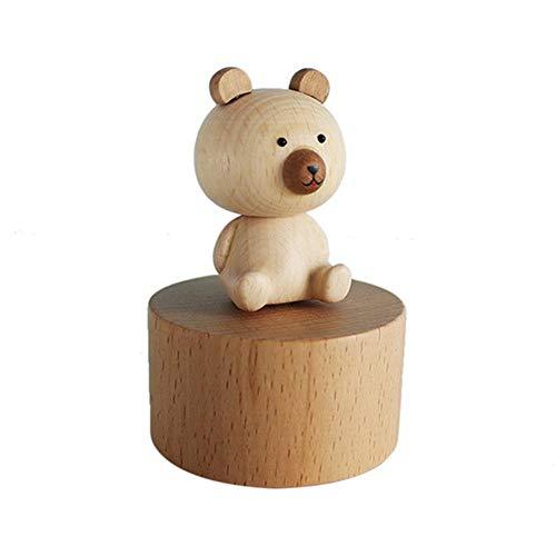 r Mini Cartoon Tier Holz Hand drehbar Uhrwerk Spieluhr Basteln Geburtstag Festival Geschenk für Kinder Freundin Familie Dekoration bär ()