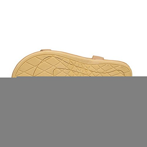 VogueZone009 Damen Offener Zehe Niedriger Absatz Weiches Material Rein Sandalen Aprikosen Farbe