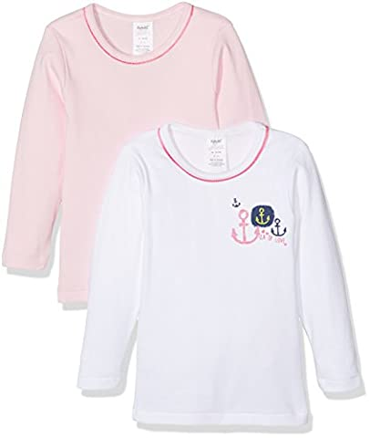 Alphabet 2 TS ml, T-Shirt Fille, Multicolore(Blanc/Rose), 8 Ans (Taille Fabricant: 8A)