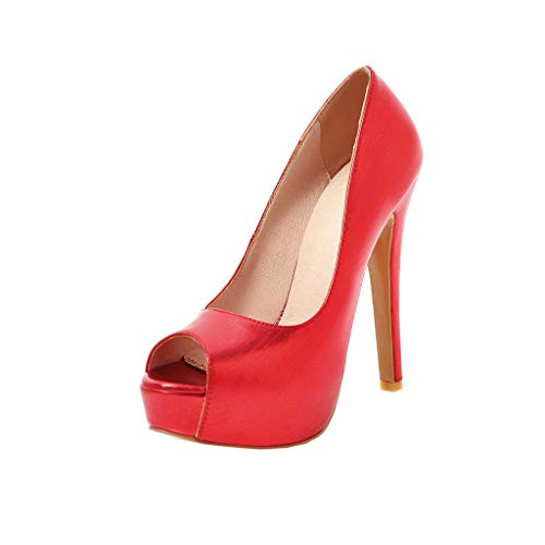 YE Super High Heels Extremely Donna Slingback Tacco Alto Spillo Glitter Sexy Moda con Plateau Alto(Rosso,37)
