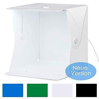 Amzdeal Lichtzelt 40×40cm Fotostudio hat innerliche Halterung zu festen und 30 LED Beleuchtung, Fotozelt Tragbare Lichtwürfel insgesamt 4 Hintergründe (weiß/ schwarz/ blau/ grün)(Neue Version)