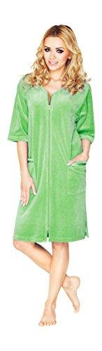 Luxe Femme Coton Peignoir Longueur Genou A Manches Courtes Et Fermeture Eclair Vert