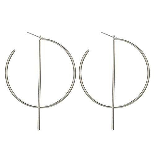 Kreolen-Ohrringe einfacher Stil geometrische groß rund & Stabform Tropfenohrringe für Frauen Schmuck Zubehör