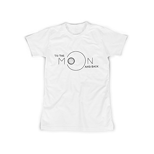 Frauen T-Shirt mit Aufdruck Weiß Gr. XXXL To The Moon And Back Design Girl Top Mädchen Shirt Damen Basic 100% Baumwolle kurzarm (Kleidung Big Weiße Kids)
